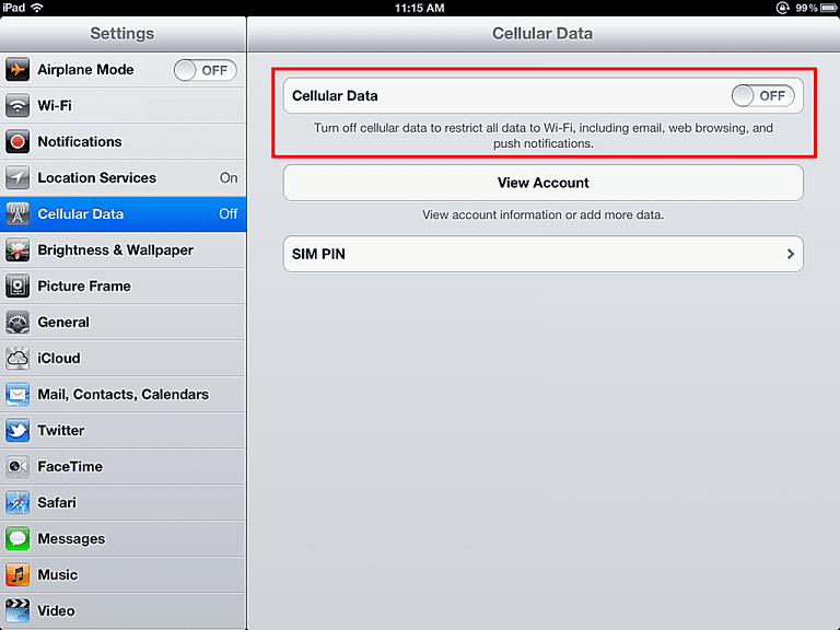 iPad Cellular Data Settings