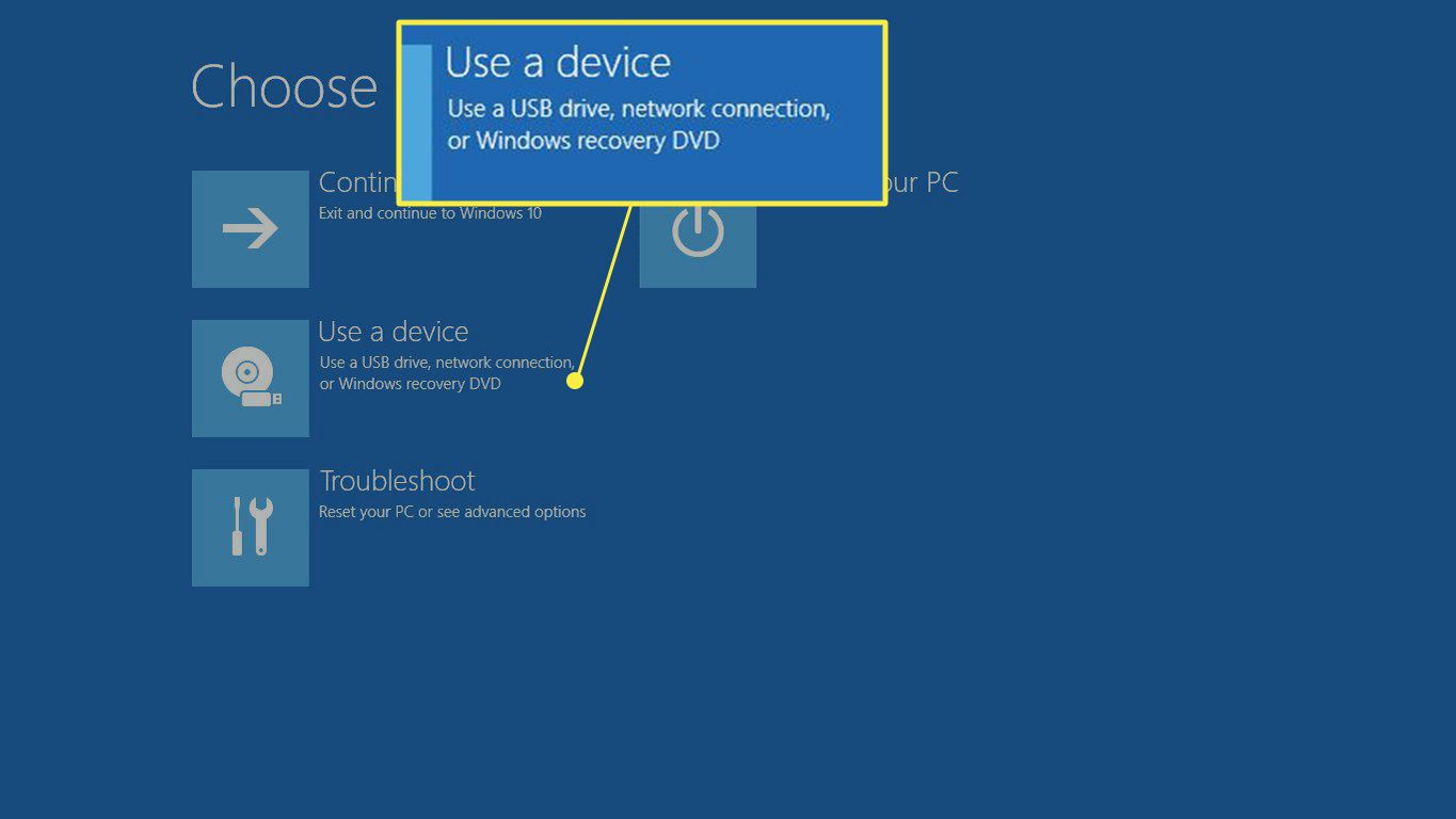 Use a device highlighted in the Windows Advanced Startup Menu