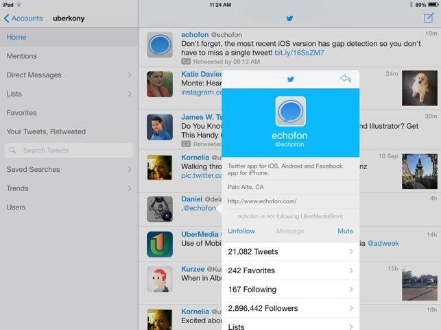 A Twitter timeline in the Echofon app