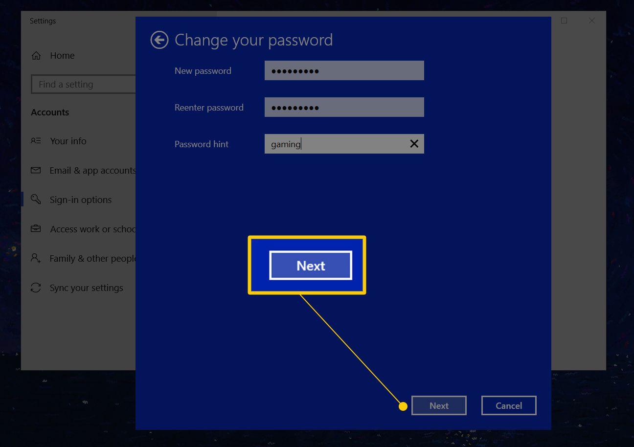 window user password change