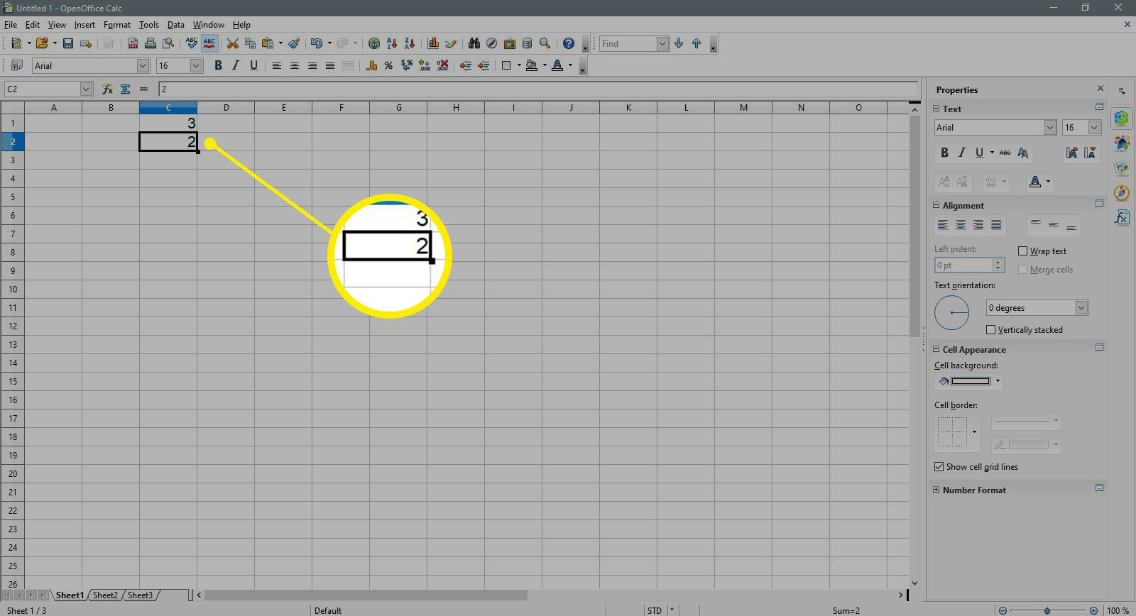 Entering a 2 in a cell in OpenOffice Calc.
