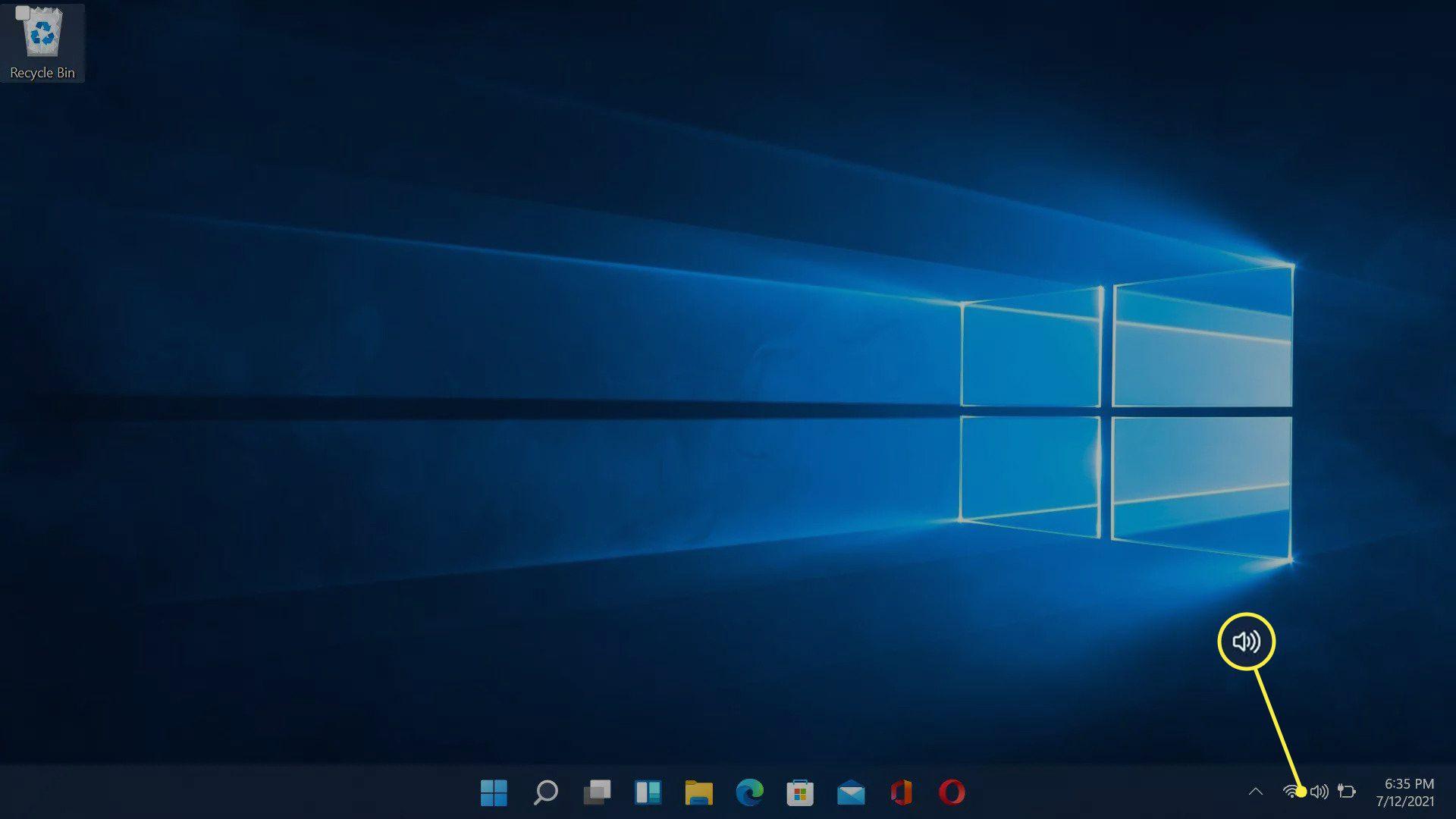The speaker icon highlighted on the Windows 11 taskbar