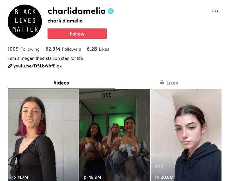 Charli D'Amelio (charlidamelio) TikTok page