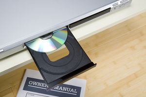 A DVD stuck in an open DVD player tray