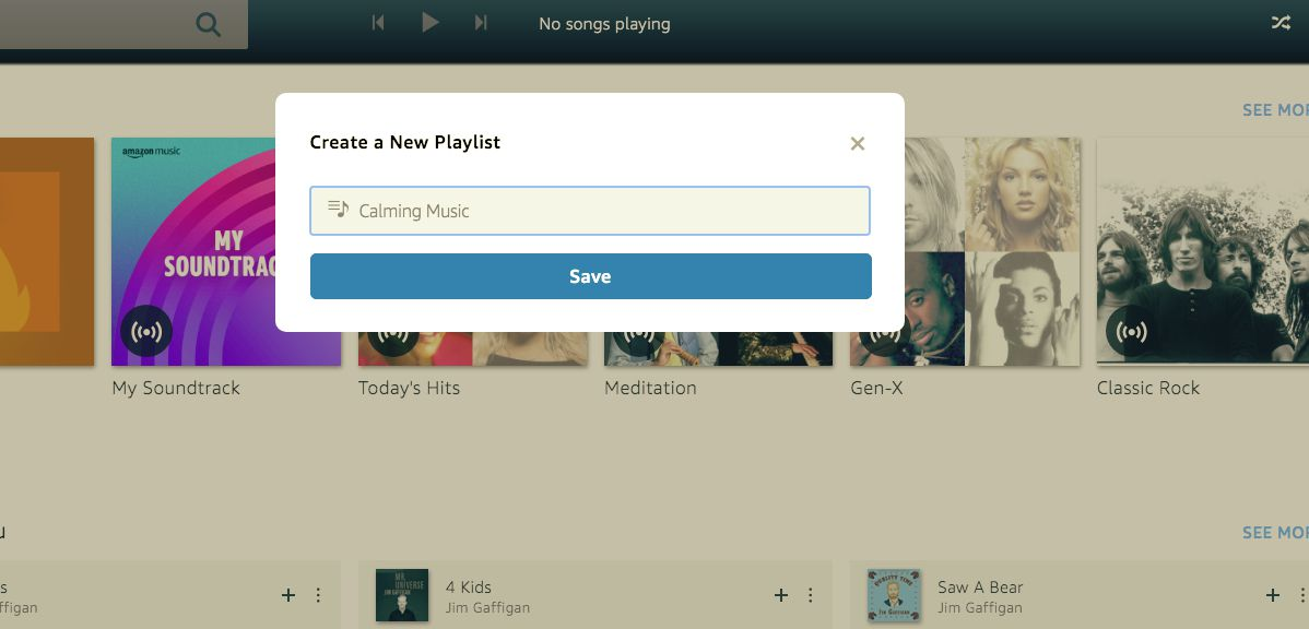 Enter a name for your new playlist and select Save