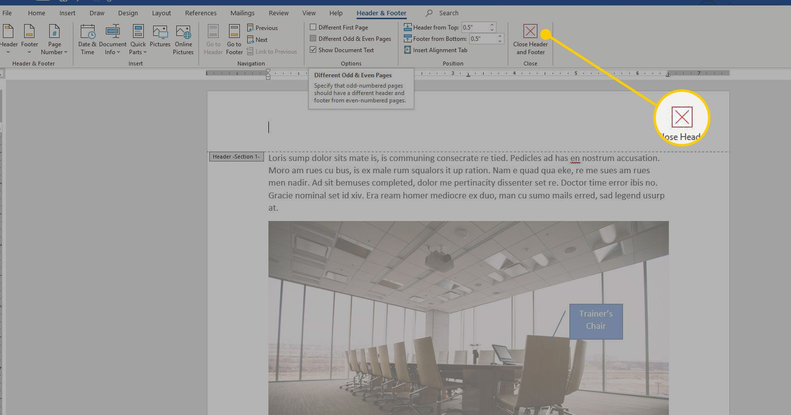 Close Header and Footer button in Word