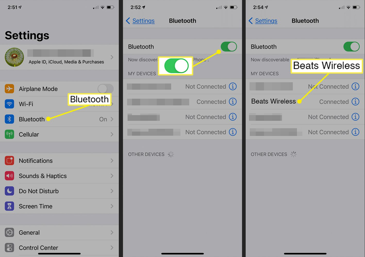 Bluetooth activation screen on iOS