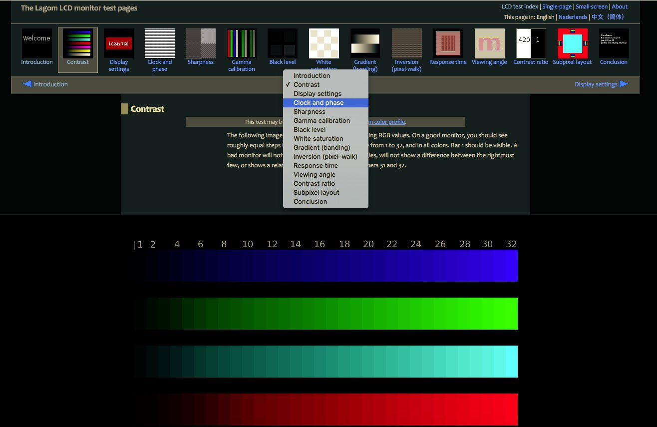 Lagom's monitor calibration tests