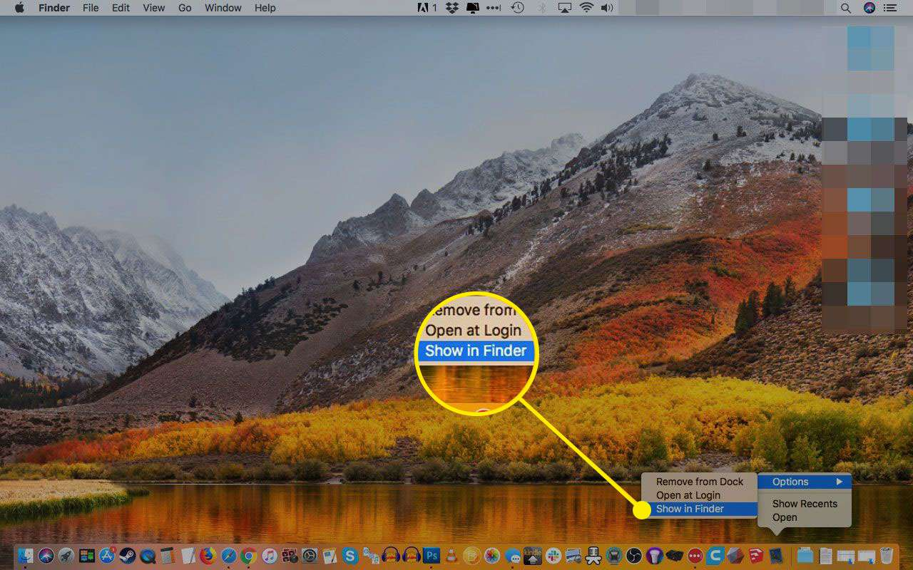 Apple Mail dock menu with Show in Finder highlighted