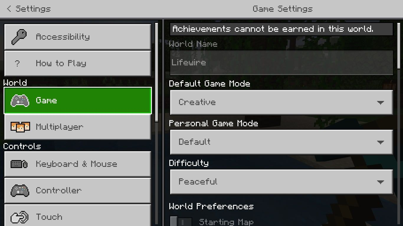 Game in the Minecraft settings
