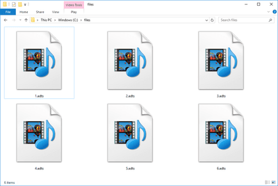 Screenshot of several ADTS files in Windows 10 that open with Windows Media Player