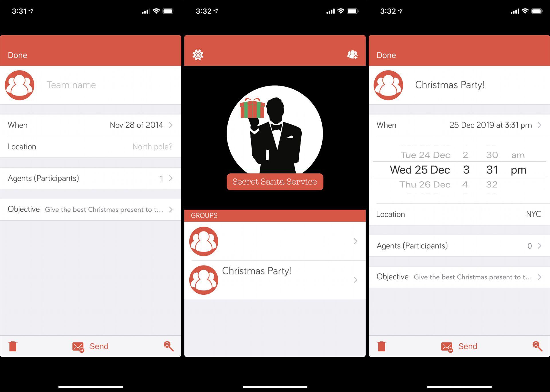 Secret Santa Service app on iPhone
