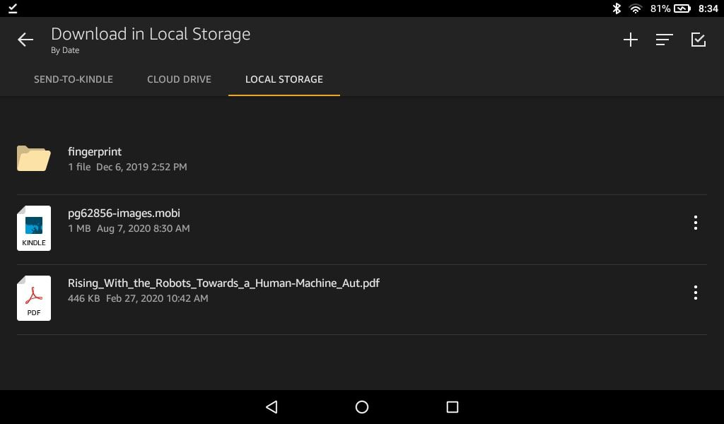 Downloads in the Docs app for Kindle Fire
