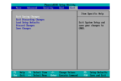 Screenshot of a BIOS Setup Utility Exit Menu