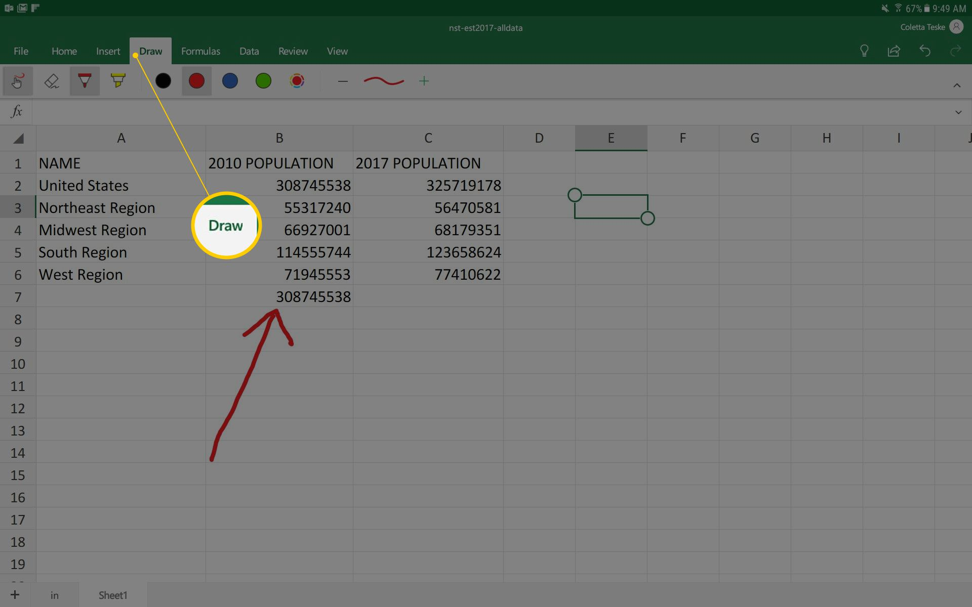 A screenshot showing the drawing tools in Microsoft Excel app for Android
