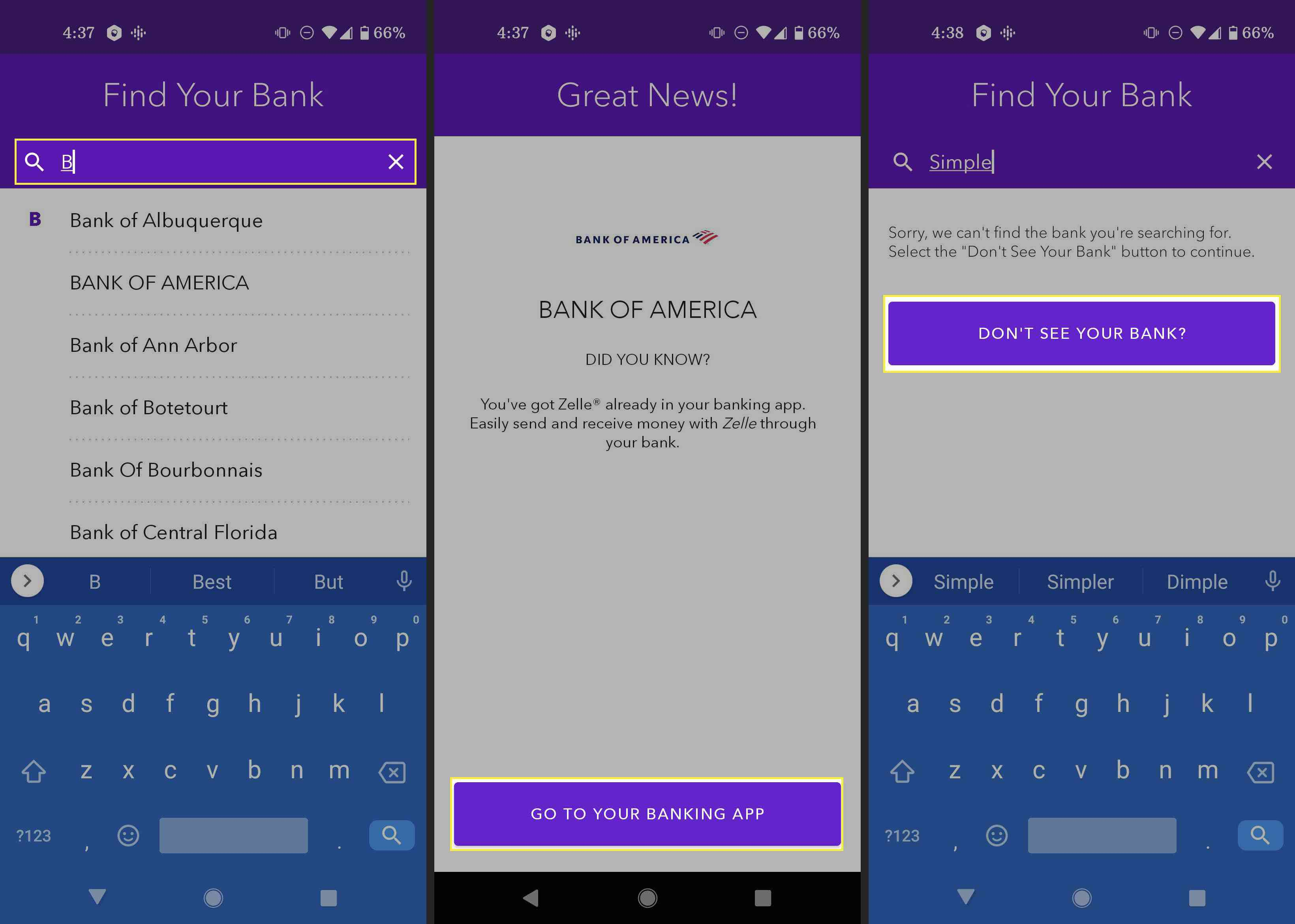 Using the Zelle app to look for a compatible bank on Android.