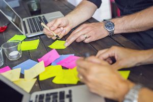 Document planning and management with sticky notes.