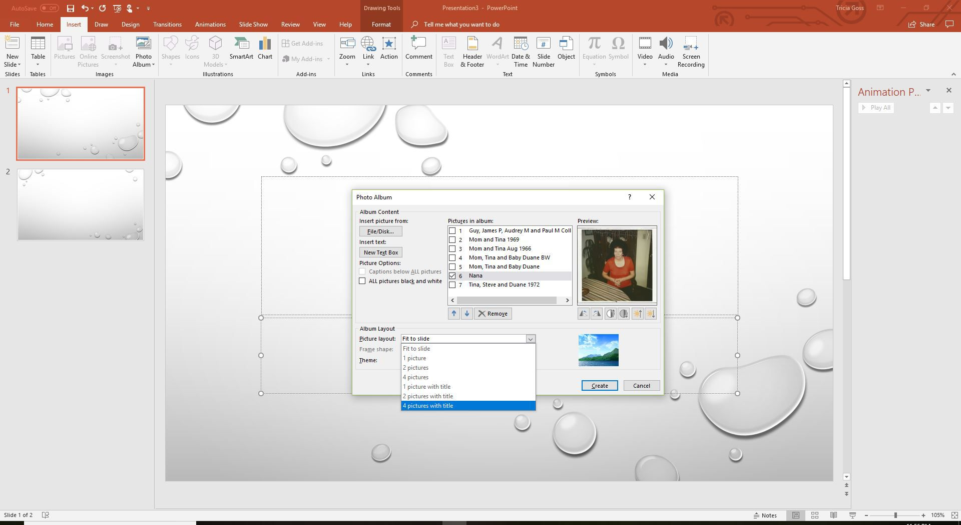 A screenshot of choosing a picture layout for your PowerPoint photo album.