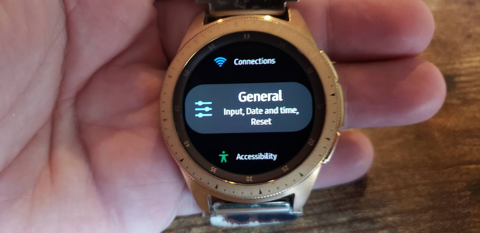 Samsung Galaxy Watch Settings and General sub menu.