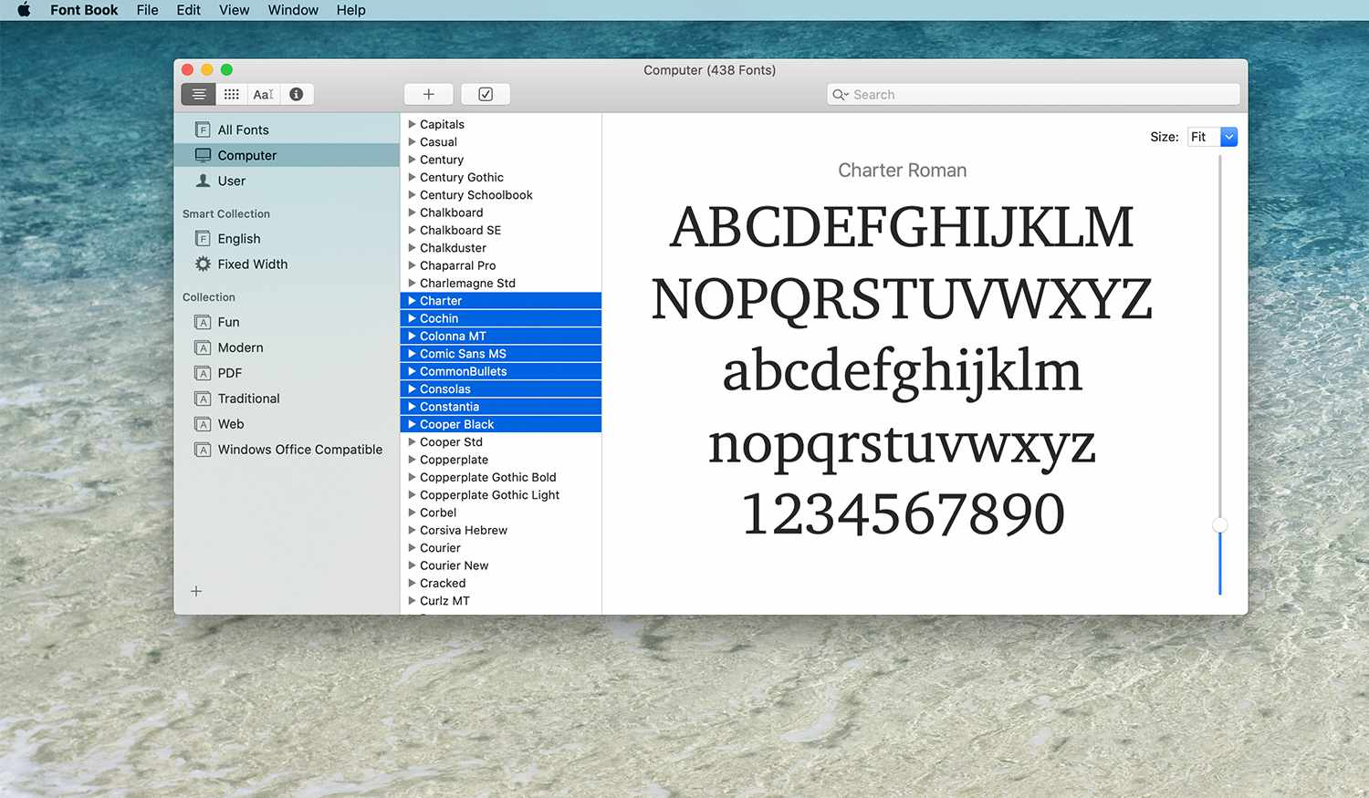 Selection of fonts in Font Book on a Mac