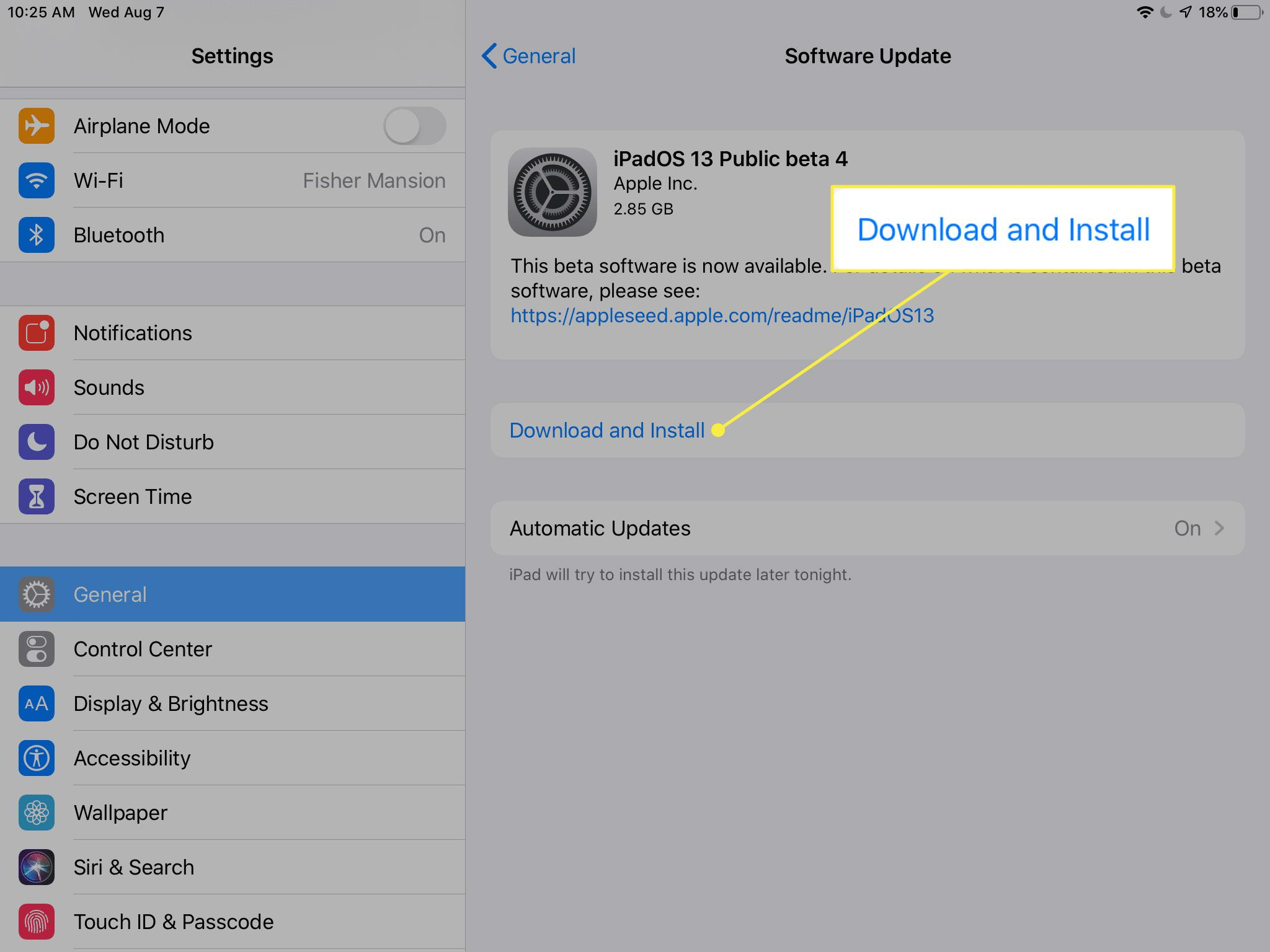 A screenshot of the Software Update screen on an iPad with the Download and Install command highlighted