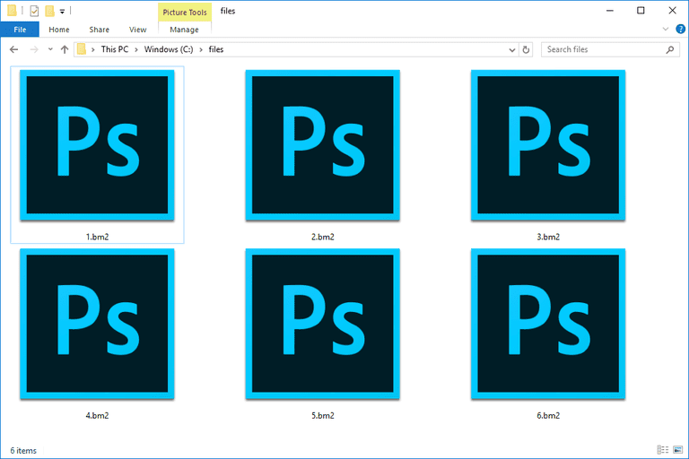 Screenshot of several BM2 files in Windows 10 that open with Adobe Photoshop