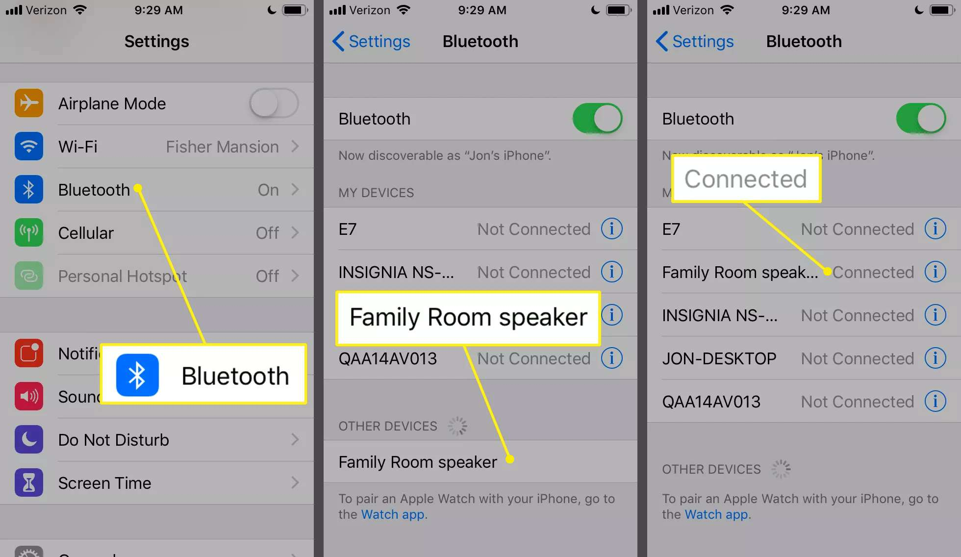 iPhone Bluetooth settings showing options for connections