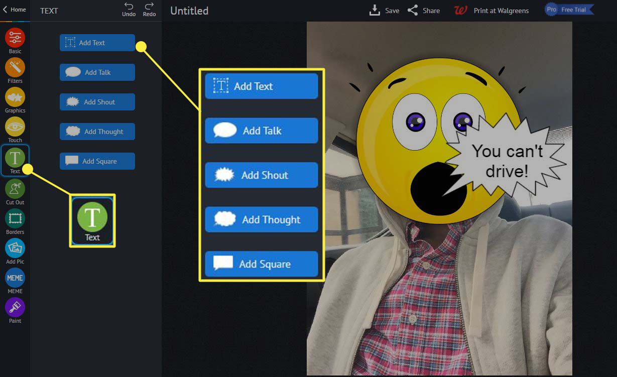 piZap - adding text to emoji.
