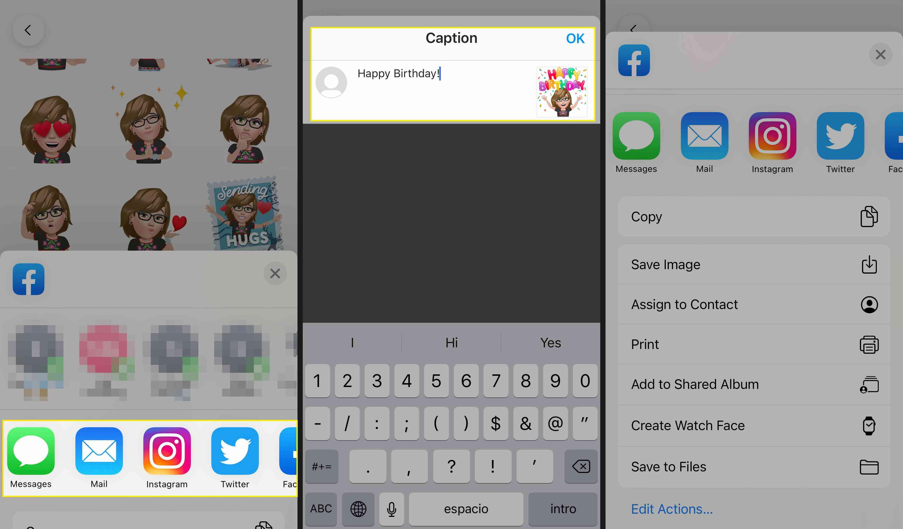 Sharing Facebook Avatar Sticker to other platforms like Instagram