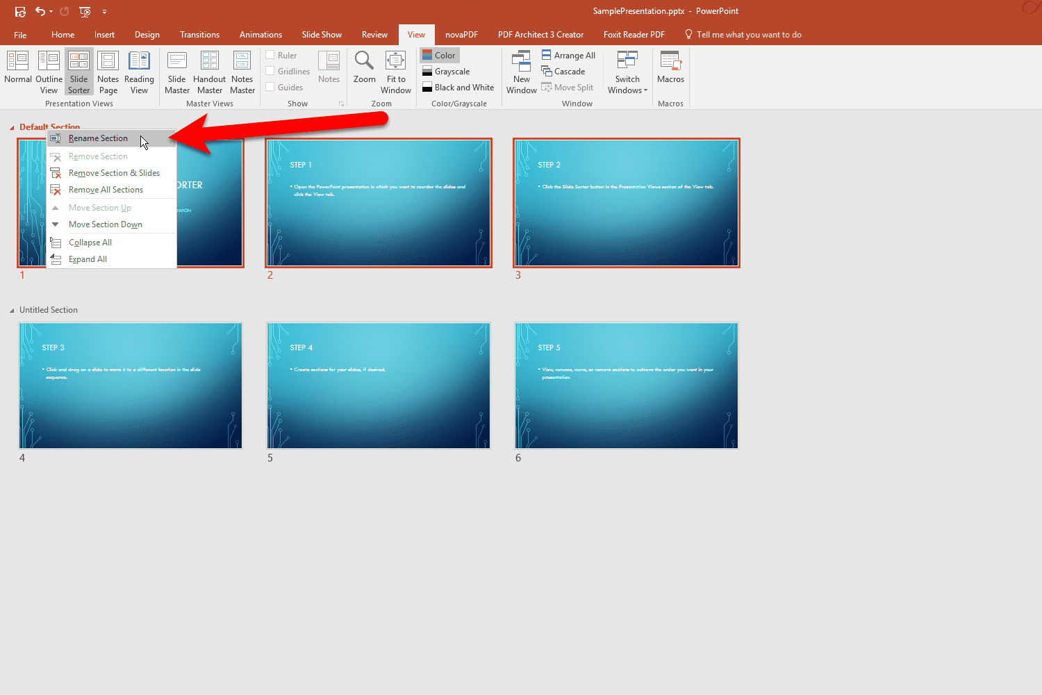 how to select and move section
