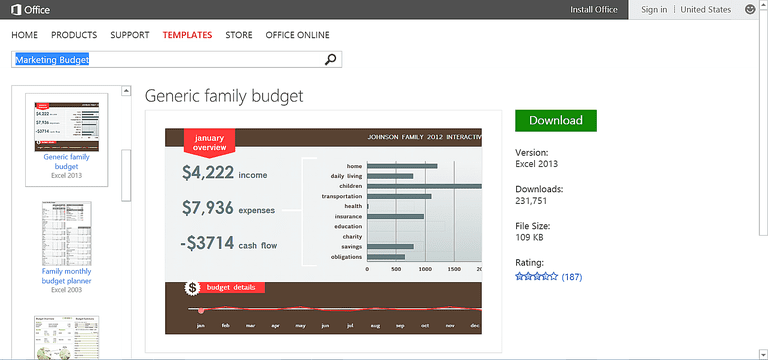 simple family budget template for excel