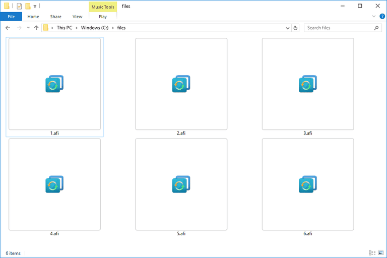 Screenshot of several AFI files in Windows 10 that open with AOMEI Backupper