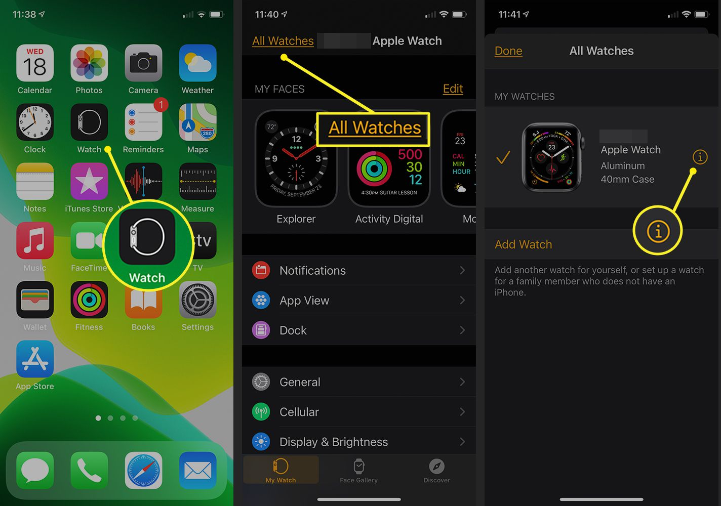 Watch App on iPhone showing the Apple Watch interface