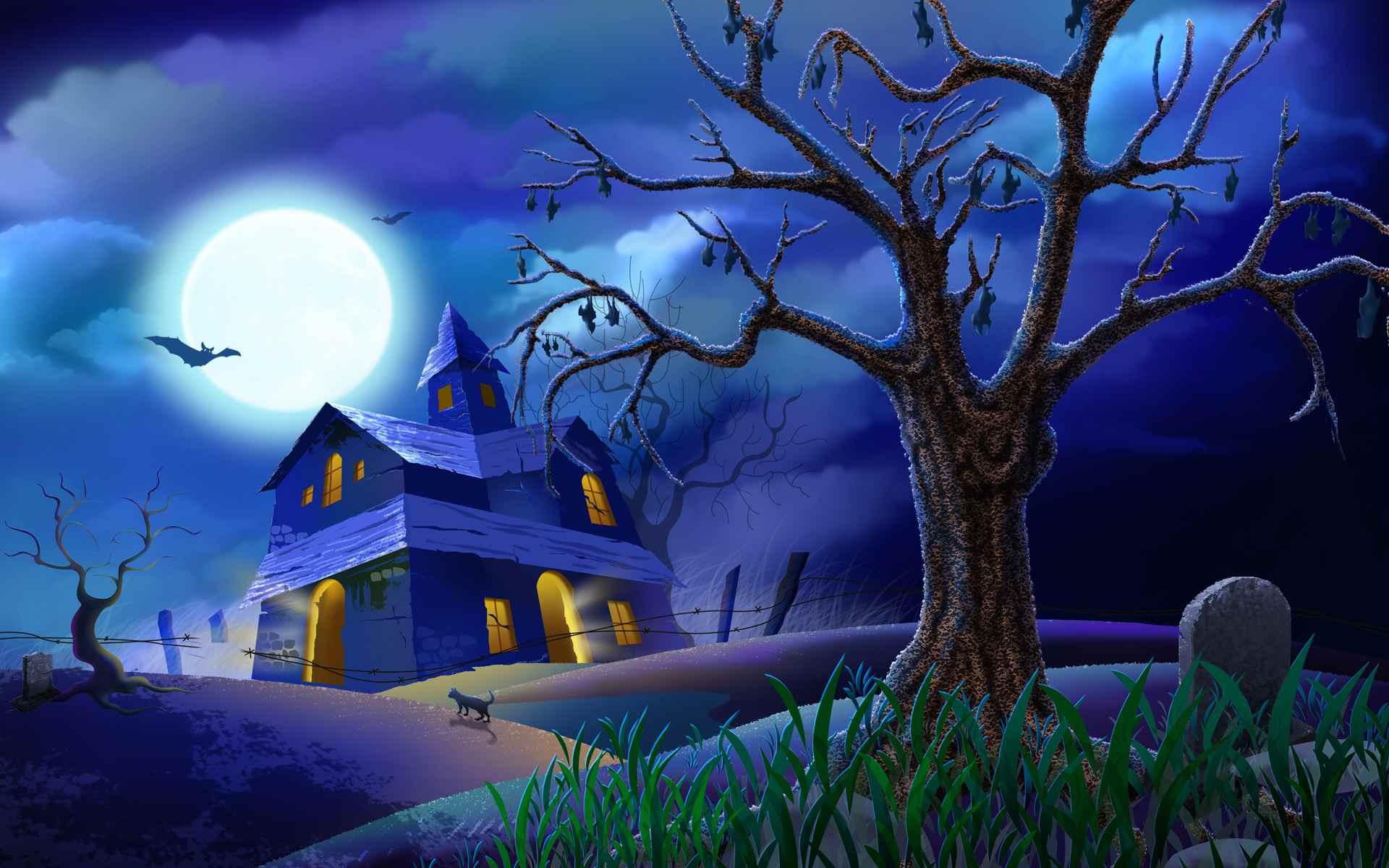 A haunted house on a dark night.