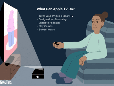 Illustration showing a woman using an Apple TV to watch a show on her television
