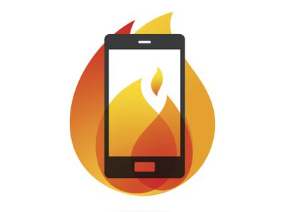 Illustration of a phone with flames representing a hot, overheating phone