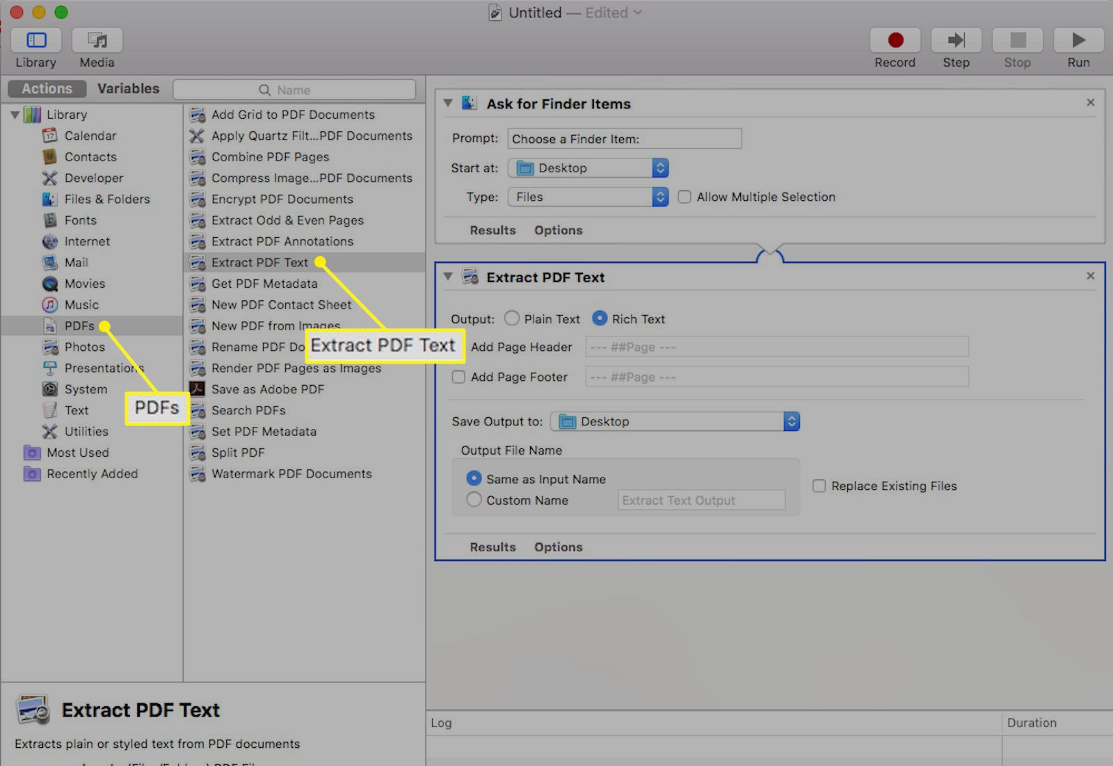 Automator application for Mac with Extract PDF Text highlighted