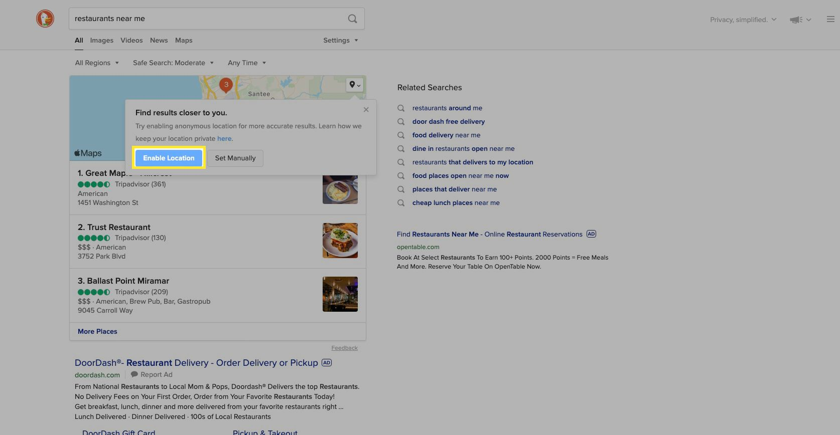 Select Enable Location, which is anonymous, to get more accurate search results.
