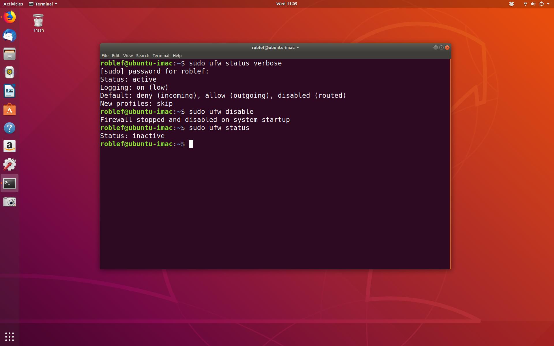 Ubuntu Linux terminal showing status of firewall and disabling it