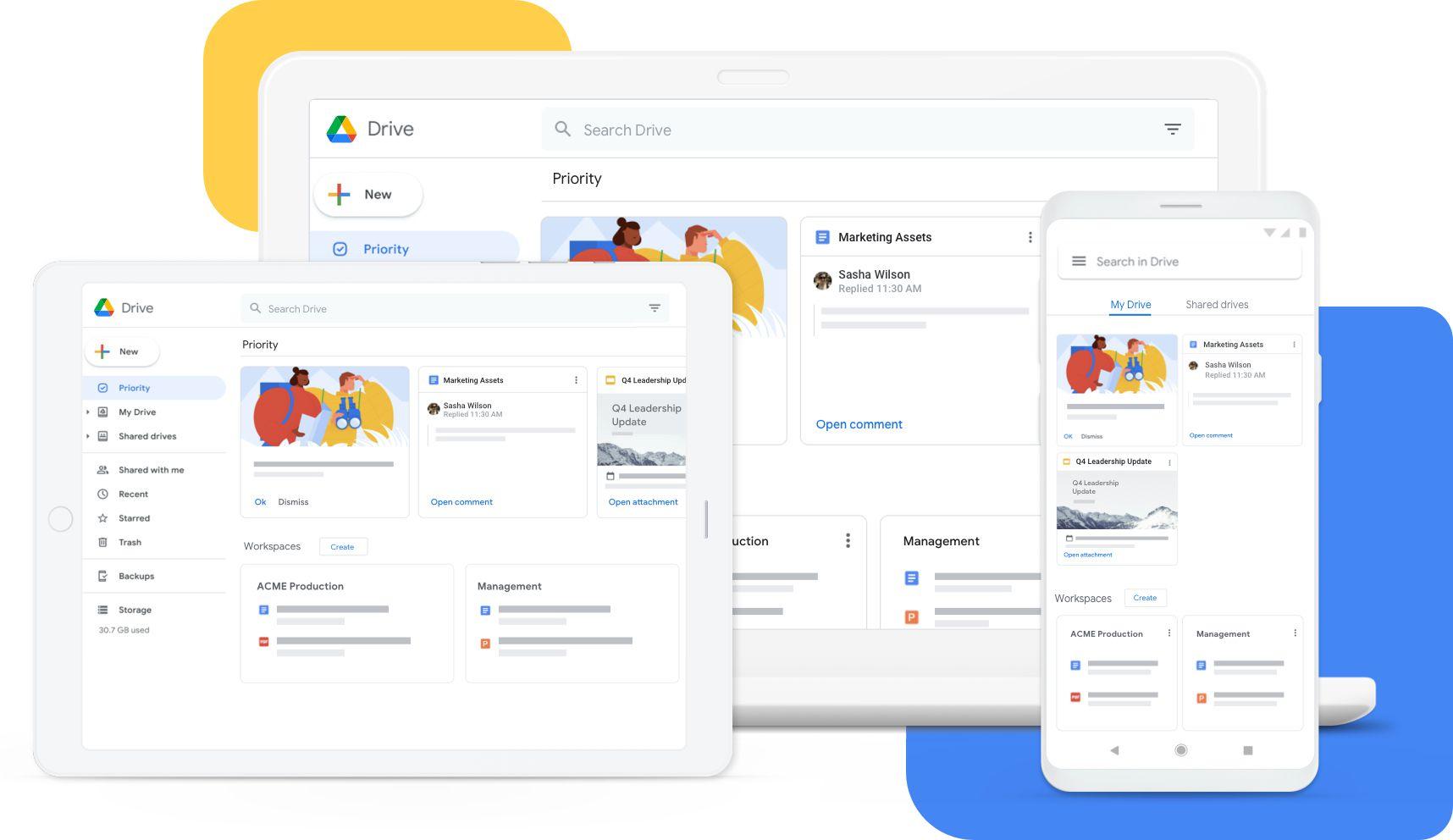 Google Drive apps on desktop, mobile, and tablet