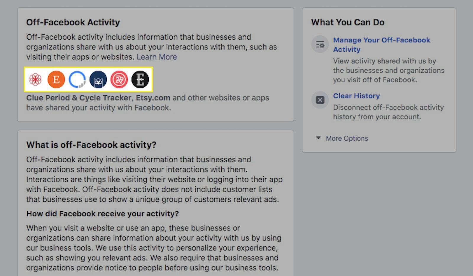 Off Facebook activity.