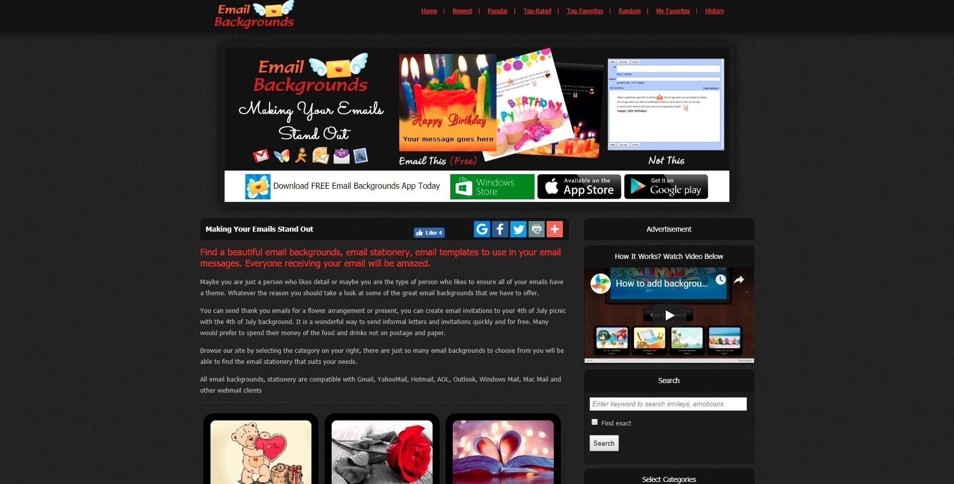 most popular free email stationery websites
