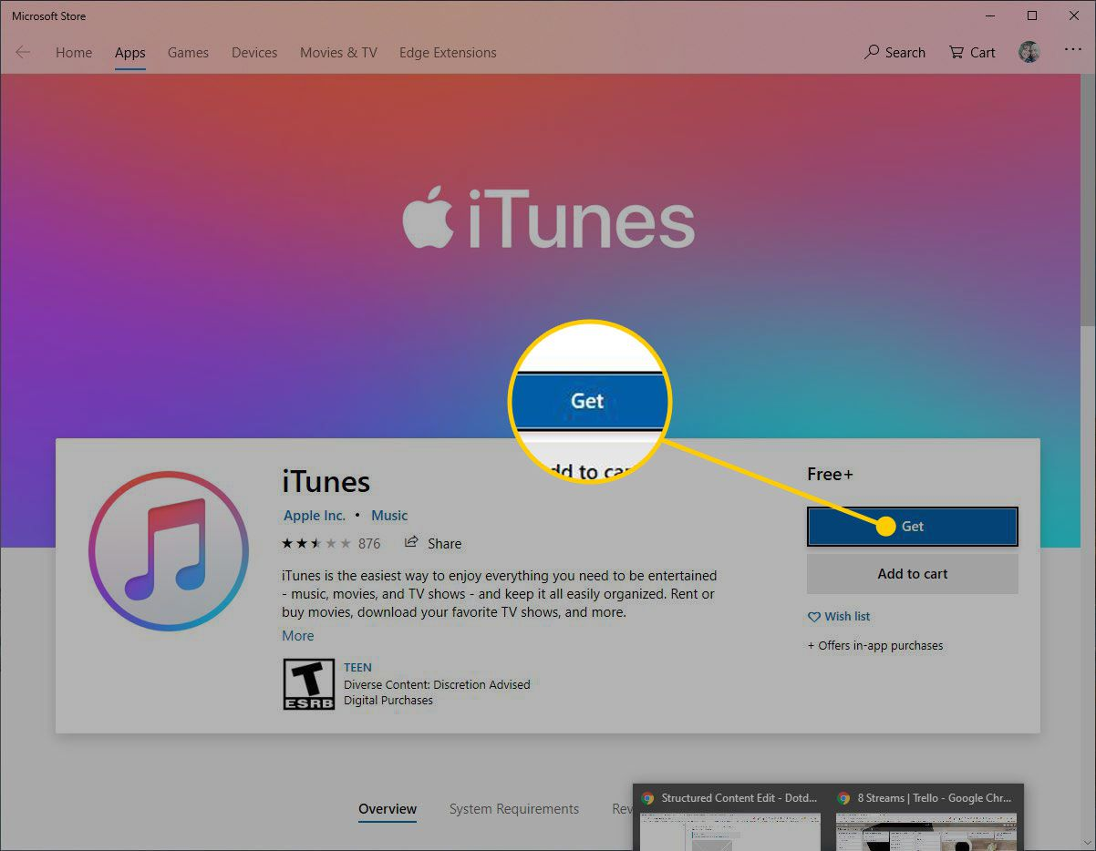 iTunes in the Microsoft Store with the Get button highlighted