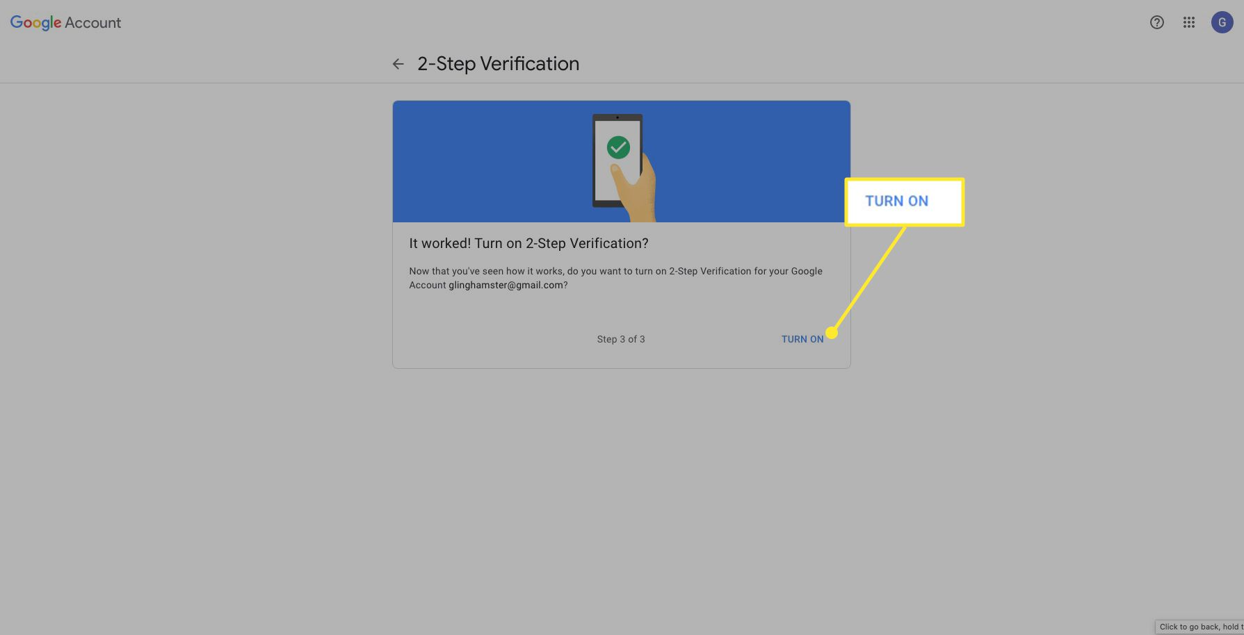 Google 2-step verification screen with