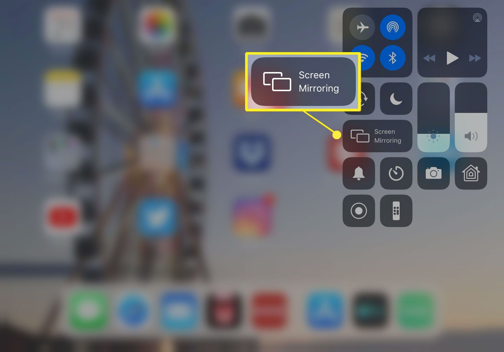 Airplay Mirroring from iPad Control Center