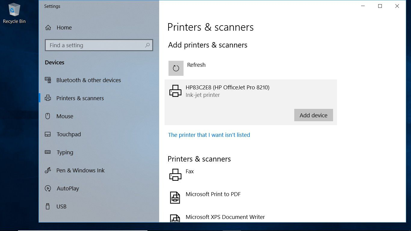 A screenshot showing how to add a device in the Windows 10 Printers & scanners settings
