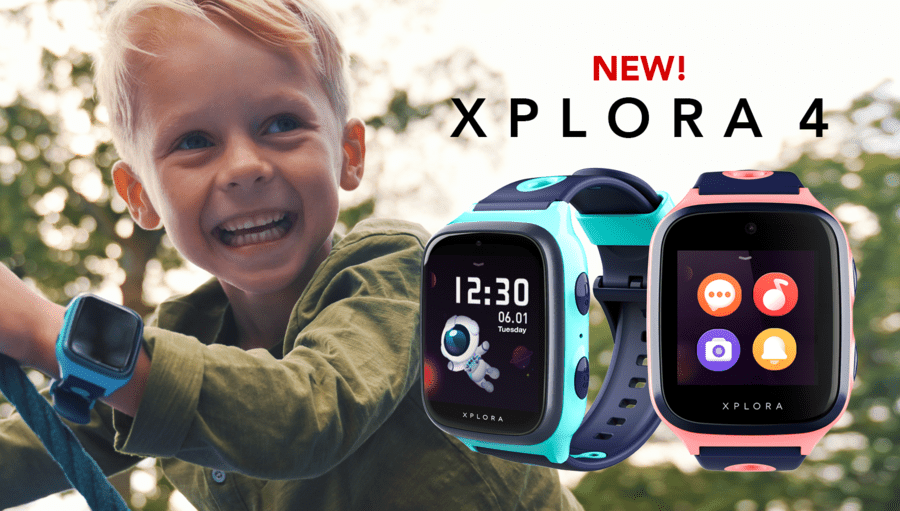 Xplora banner image showing a boy wearing the smartwatch