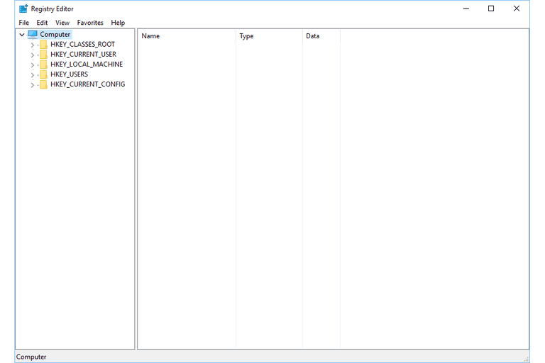 Screenshot of registry hives in the Windows 10 Registry Editor