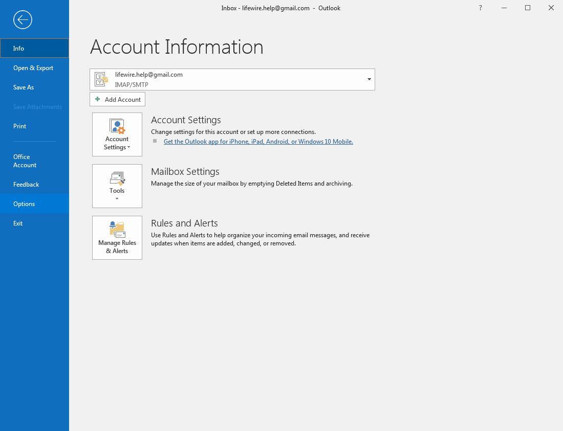 Outlook 2016 Options menu