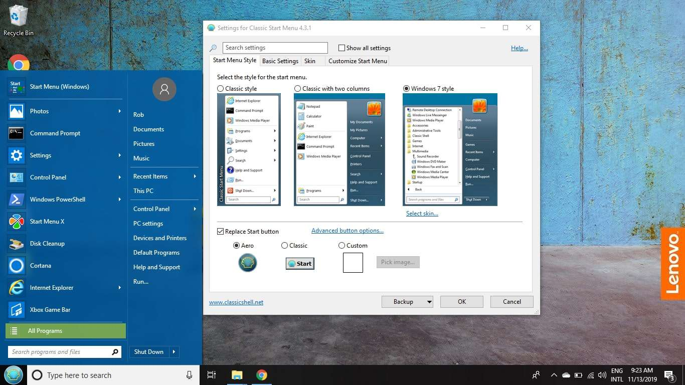 Classic Shell Windows 8 Start Menu Replacer on the desktop.